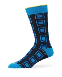 Duchamp Square Cotton Socks Blue