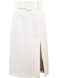 Sara Battaglia Side Slit Pencil Skirt White