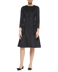 Oscar De La Renta Long Sleeve Wool Cashmere Embellished Dress