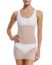 Fuzzi Mesh Tankini Swim Top White