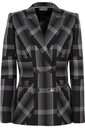 Alexander Mcqueen Checked Silk And Wool Blend Blazer Charcoal