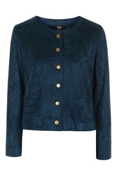 Stand Alone Navy Suede Jacket With Poppers By Goldie Navy Blue