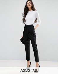Asos Tall Tailored Peg Trousers With Wrap Leg Black