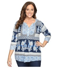 Lucky Brand Plus Size Printed Knit Top Blue Multi Women's Clothing