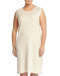 Ming Wang Plus Sleeveless Shimmer Knit Dress White Gold