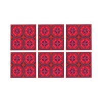 Images D'orient Set Of 6 Coasters Sejjadeh Ruby