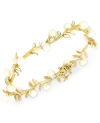 Macy's Cultured Freshwater Pearl 5Mm And Diamond 1 4 Ct. T.W. Bracelet In 14K Gold White