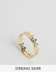 Asos Sterling Silver Gold Plated Heart Crown Ring Gold