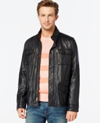 Tommy Hilfiger Leather Four Pocket Field Jacket Black