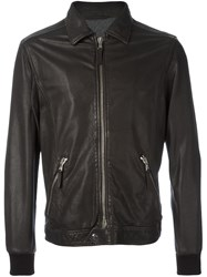 Eleventy Ribbed Cuffs Zipped Jacket Brown