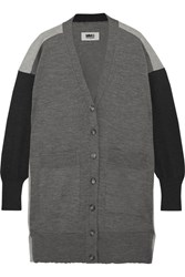 Maison Martin Margiela Mm6 Oversized Wool And Cotton Blend Cardigan Gray