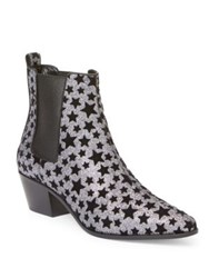 Saint Laurent Glitter Star Rock Chelsea Booties Platinum Black