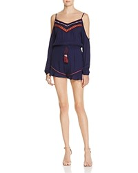 Band Of Gypsies Embroidered Cold Shoulder Romper Navy