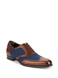 Mezlan Mixed Media Wingtip Oxford Shoes Cognac Blue