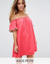 Asos Petite Off Shoulder Swing Sundress With Bright Pom Poms Bright Pink