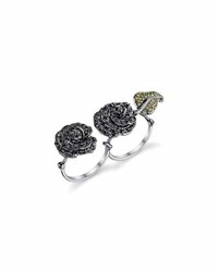 Borgioni Garden Roses Two Finger Ring In 18K Gold And Rhodium