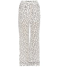Dolce And Gabbana Printed Silk Trousers White