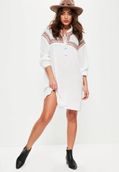 Missguided White Oversized Embroidered Yoke Swing Dress