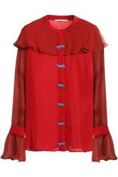 Marco De Vincenzo Bow Embellished Silk Georgette Blouse Red