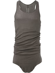 Rick Owens Curved Hem Tank Top Grey