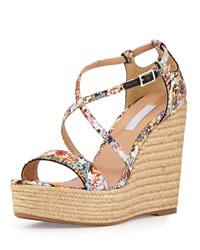 Tabitha Simmons Jenny Crisscross Floral Print Wedge Multi