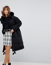 Lost Ink Oversized Padded Jacket With Faux Fur Hood Black