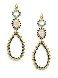 Azaara 13Mm Freshwater Oval Coin Pearl Turquoise And Aventurine Beaded Drop Earrings Gold Multi