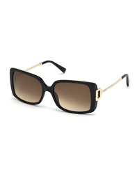Tod's Square Plastic Metal Sunglasses Shiny Black Gradient Brown