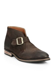 Walk Over Grove Moka Suede Buckle Ankle Boots Dark Brown