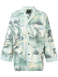 Jean Paul Gaultier Vintage Printed Shirt Jacket Green