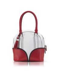 Pineider 1774 Limited Edition Mini Bowling Leather Bag White Red