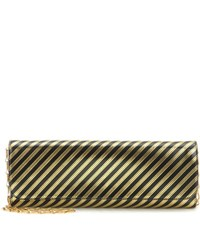 Balenciaga Pochette M Metallic Striped Leather Clutch Black