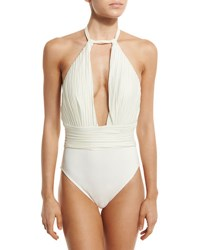 Gottex Pearl Goddess Halter One Piece Swimsuit Ivory