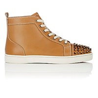 Christian Louboutin Men's Lou Spikes Flat Leather Sneakers Tan