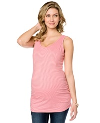 Motherhood Maternity Wide Strap Striped Ruched Tank