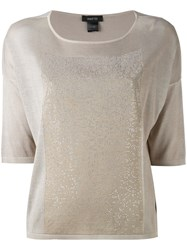Avant Toi Metallic Panel T Shirt Women Silk Aluminium S Nude Neutrals