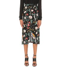 Warehouse Bird Print Midi Wrap Skirt Black