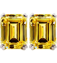 Carat Canary 1.5Ct Emerald Solitaire Stud Earrings Yellow