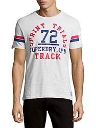 Superdry Trackster Textured Printed Tee Ice