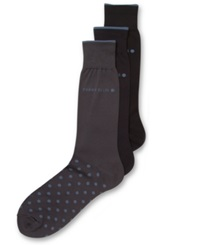 Perry Ellis Men's Everyday Value Microluxe Dot Socks 3 Pack Dark Assorted