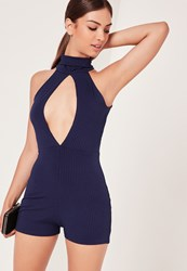 Missguided Ribbed Split Front Playsuit Navy Blue
