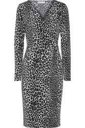 Michael Michael Kors Wrap Effect Leopard Print Stretch Jersey Dress Black