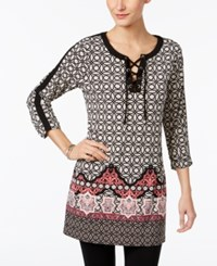 Jm Collection Printed Lace Up Tunic Only At Macy's Sevilla Tile