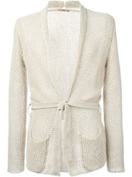 Nuur Textured Belted Cardigan Nude And Neutrals