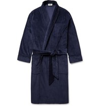 Sleepy Jones Glenn Cotton Corduroy Robe Navy