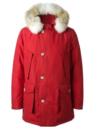 Woolrich Short Hooded Padded Coat Red