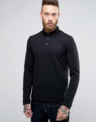 Hugo By Boss Dirage Long Sleeve Polo Pique Double Collar Slim Fit Black