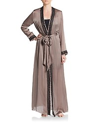 Jenny Packham Lace Accented Silk Robe Brown