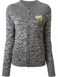 Dsquared2 Gold Brooch Cardigan Grey