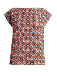 Issey Miyake Herbal Boat Neck Mosaic Print Top Red Multi